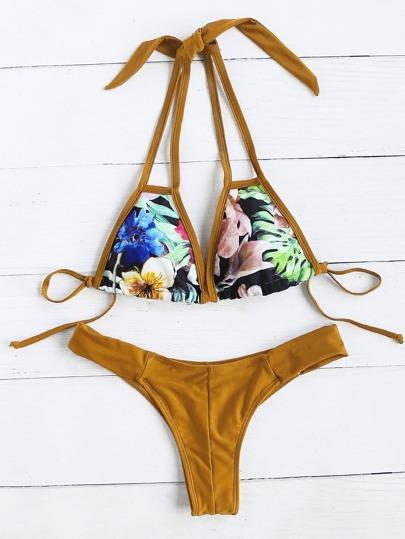Tropical Imprimer Halter Bikini
