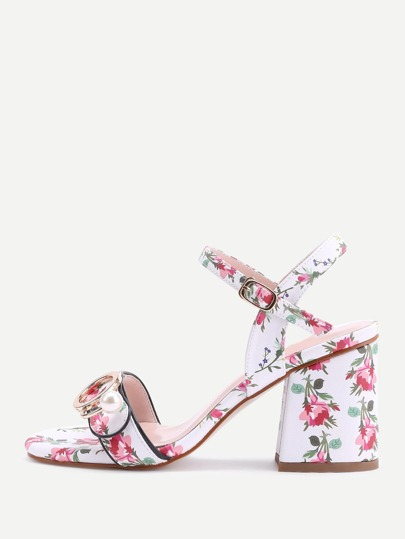Calico Print Buckle Block Heel Sandals