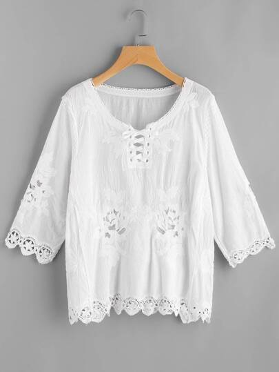 Lace Up Hollow Out Embroidered Top
