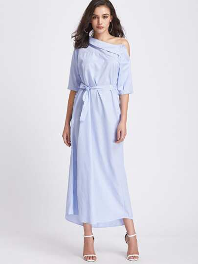Pinstripe Asymmetrical Off Shoulder Self Tie Dress