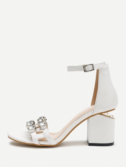 Rhinestone Design Ankle Strap Chunky Heeled Sandals