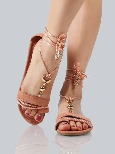 Gold Link Lace Up Sandals MAUVE