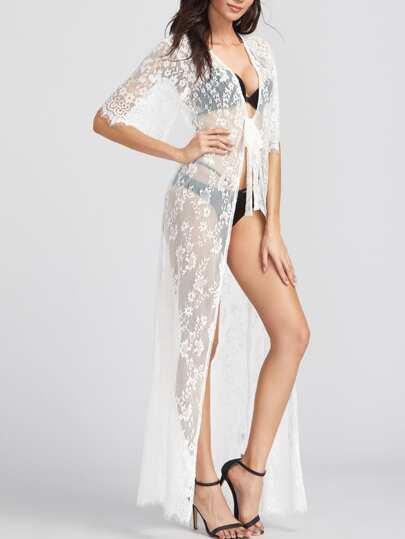 Kimono largo con encaje floral con cordón en la parte delantera - blanco