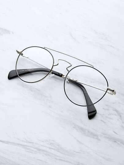 Contrast Top Bar Round Glasses