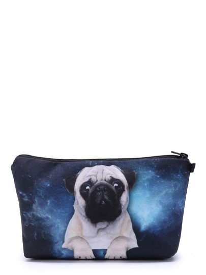Makeup Tasche mit Bulldogge & Galaxismuster