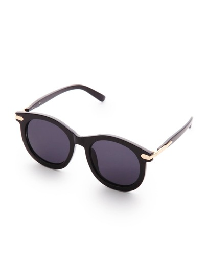 Metal Detail Flat Lens Sunglasses