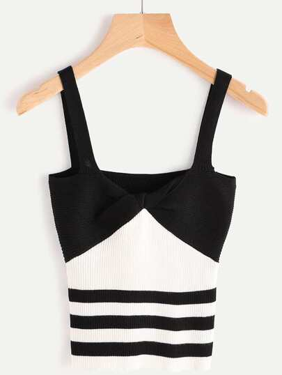 Color Block Pinstripe Ribbed Cami Top