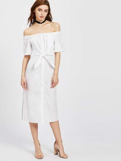 Knot Front Open Back Button Placket Slit Dress
