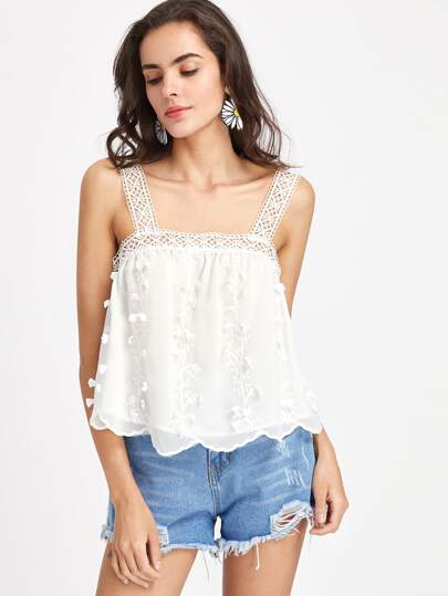Lace Strap Vine Applique Embroidered Pinafore Top