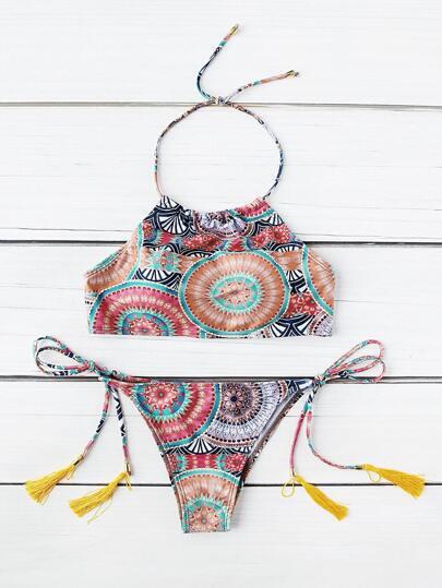 Halter Lace Up Tassel Tribal Print Swimwear