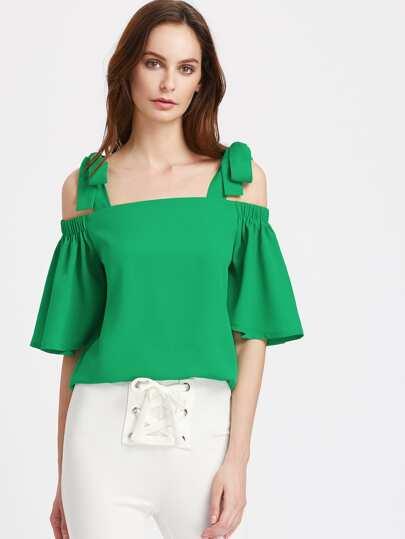 Bluse mit elastischen Glockärmeln und Selbstbindung