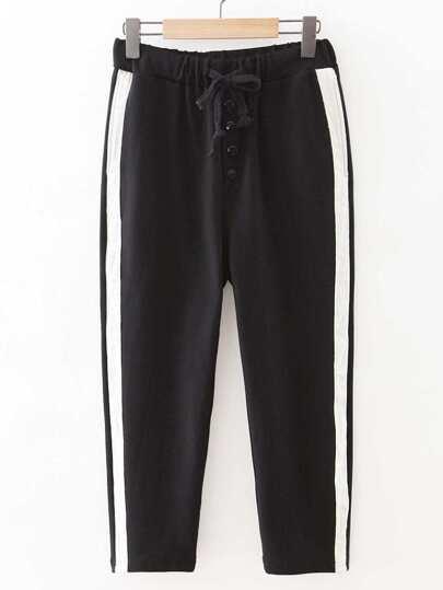 Pantalones de lado de rayas de cintura con cordón