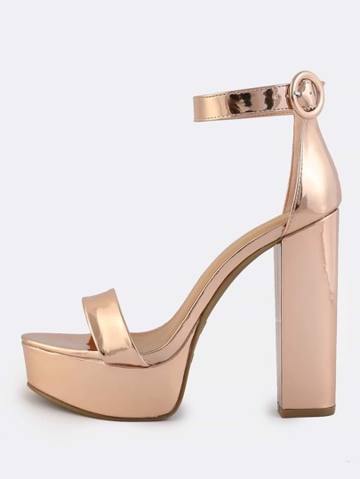 Metallic Ankle Strap Platform Heels ROSE GOLD