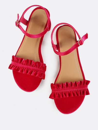 Ankle Strap Velvet Ruffle Sandals HOT PINK