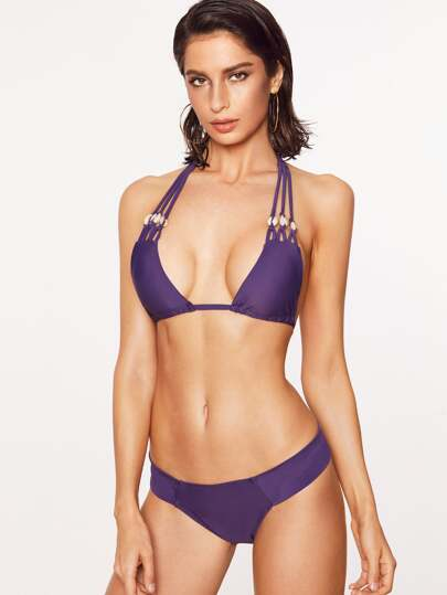 Shell Detail Strappy Halter Bikini Set