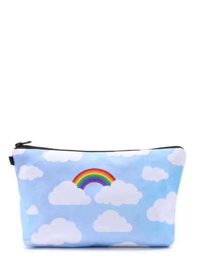 Cloud Print Zipper Makeup Bag