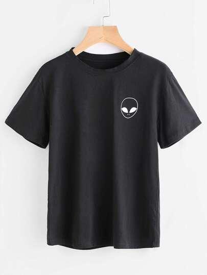 T-Shirt mit Außerirdischermuster