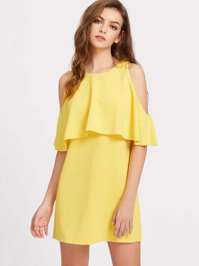 Open Shoulder Ruffle Trim Tunic Dress