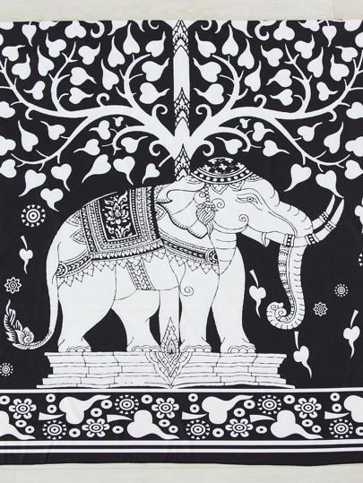 Telo da mare con stampa di due toni dell'elefante