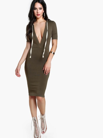 Plunge V Neck Hooded Bodycon Tee Dress