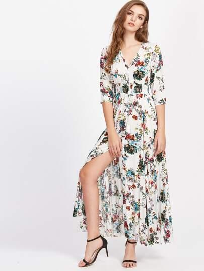 Smocked Waist Tassel Tie Button Up Botanical Dress