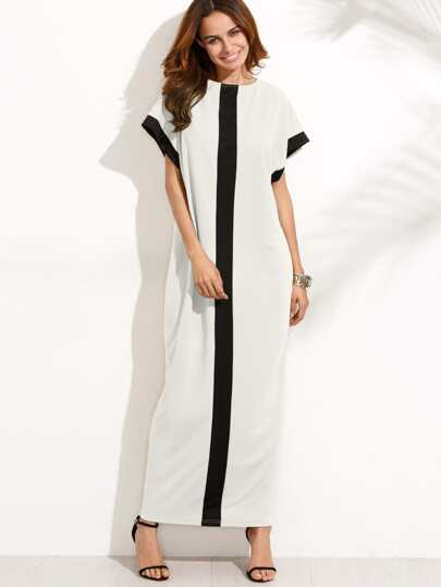 Contrast Panel Maxi Dress With Hidden Pocket