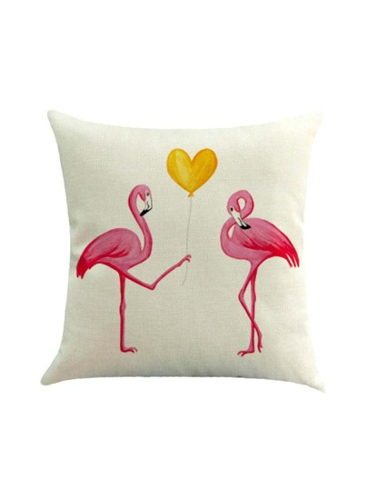 Couple Flamingo Print Cushion Cover