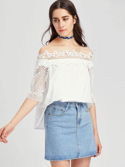 Crochet Bardot Neck And Sleeve Top