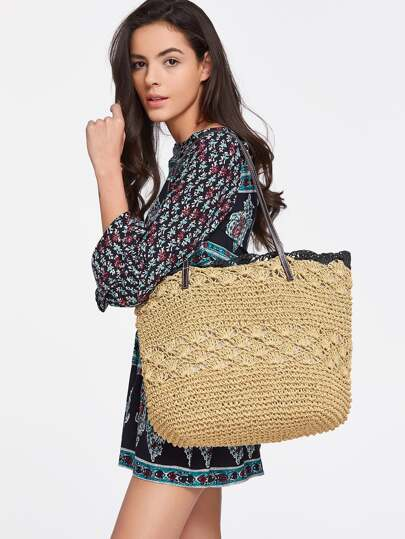 Contrast Trim Straw Beach Bag