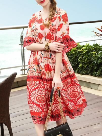 Bell Sleeve Elastic-Waist Print Dress