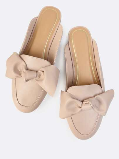 Loafer Bow Slip Ons TAUPE