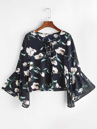 floral blouse à manches V-cou et de la dentelle cloche - Marine