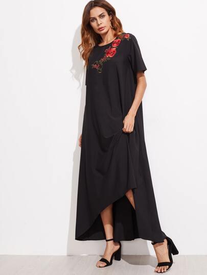 Embroidered Flower Applique Hi-Lo Tent Dress