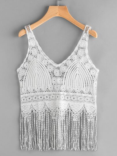 Crochet Lace Fringe Trim Cami Top