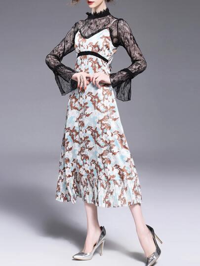 Vestido de tirante con estampado con blusa de encaje fruncido 2 piezas