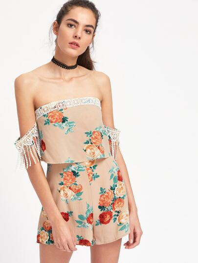 Bardot Lace Trim Layered Floral Playsuit