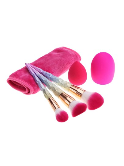 Ombre Makeup Brush Puff And Eraser Set