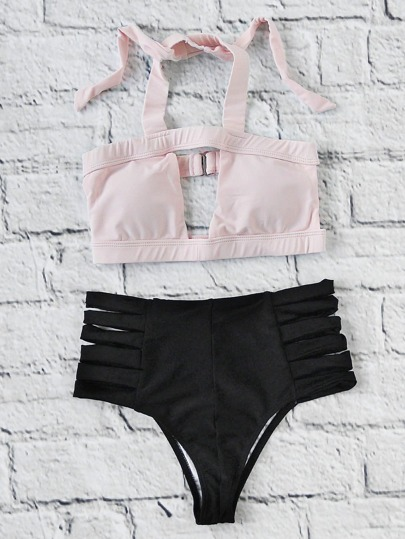 Two Tone Ladder Cutout High Waist Bikini Set