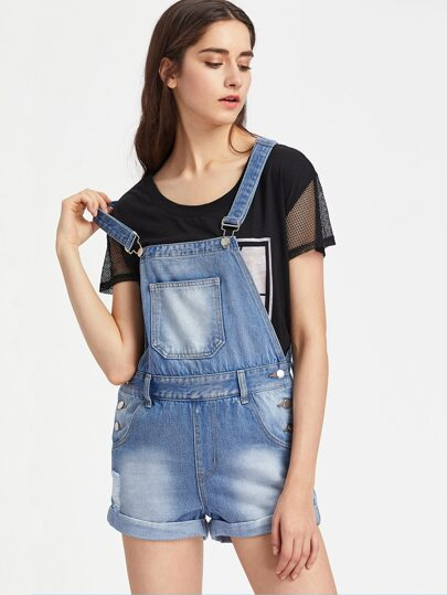 Ripped Turn Up Denim Short Dungaree