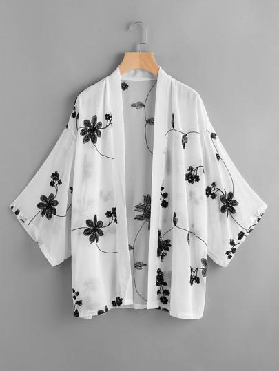 Mono Floral Embroidered Kimono