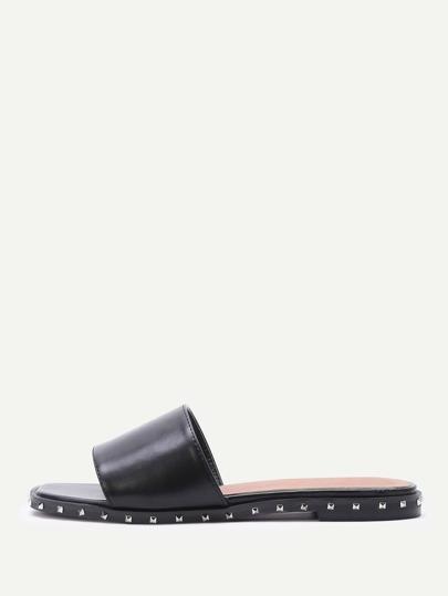 Studded Trim Slip On Sandals