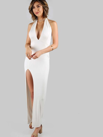 Low Back Halter Maxi Dress IVORY