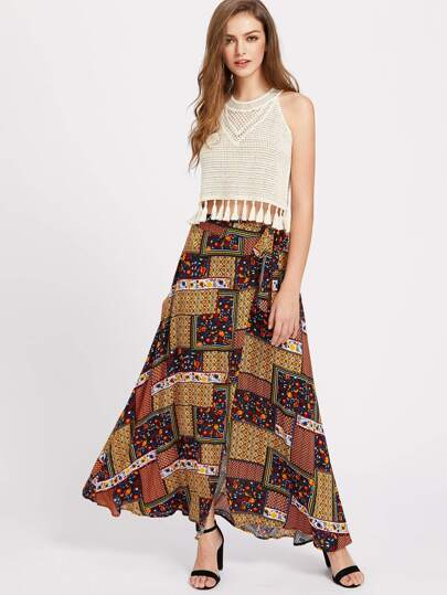 Patchwork Print Maxi Wrap Skirt