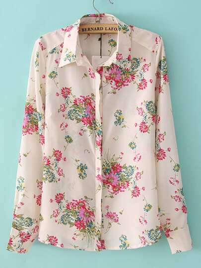 Hidden Button Floral Blouse