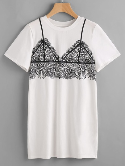 White Lace Bralet Print Tee Dress
