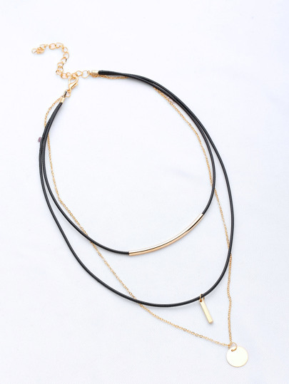 Bar Pendant Layered Necklace