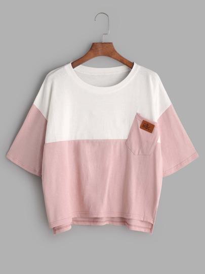 t-shirt asymétrique - bloc de couleur