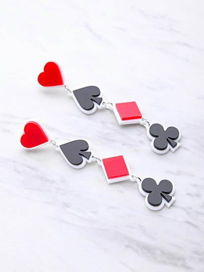 Color Block Poker Symbol Design Drop Earrings
