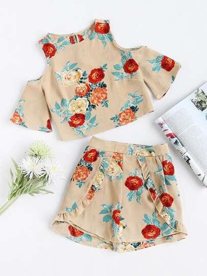 Blouse imprimée fleuri épaules dénudées &Shorts avec des plis