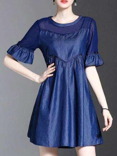 Bell Sleeve Beading Denim Dress